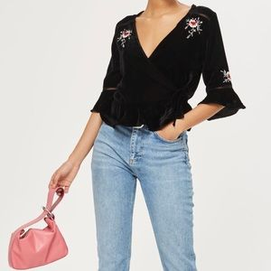 Topshop Tops - Topshop Embroidered Velvet Wrap Top